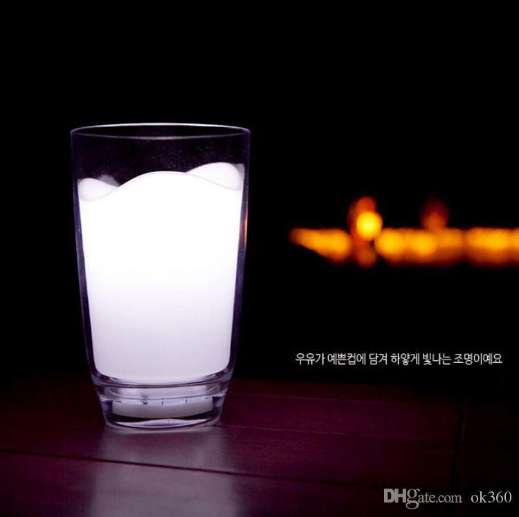 white milk glass romantic cup led lamp night lights cute table bar bedside night light novelty decor chrismas gift novelty cordless lamp from ok360