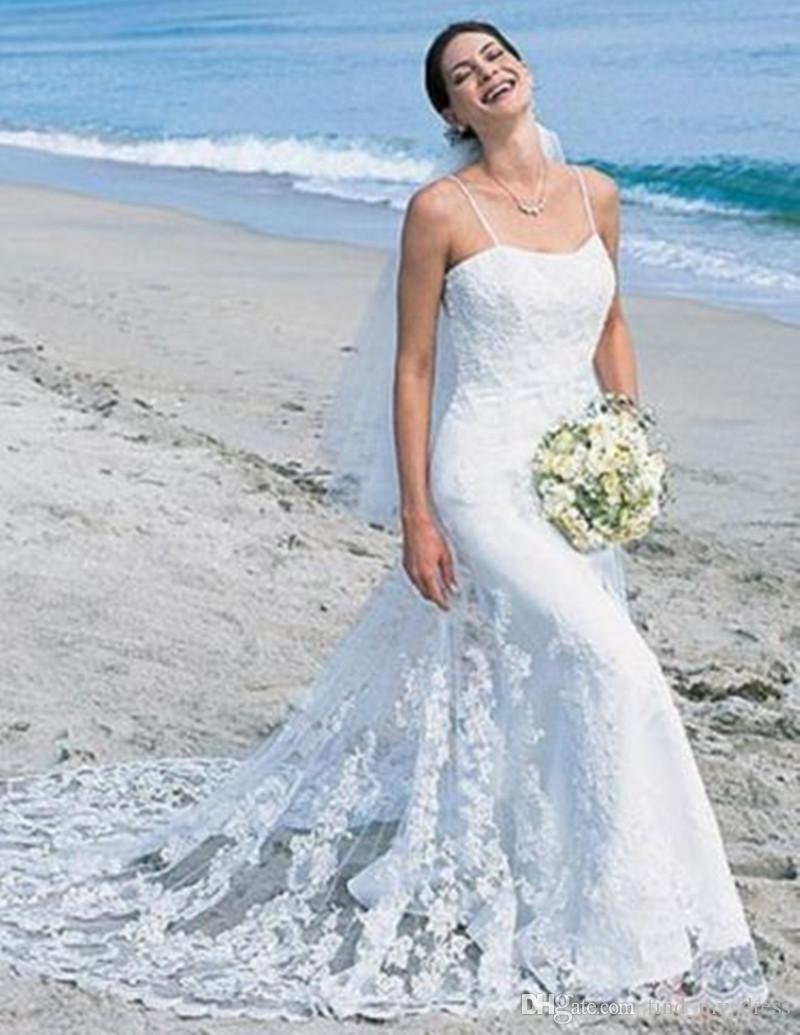 Beach Wedding Dresses 2017 : Summer elegant mermaid beach wedding dresses spaghetti straps