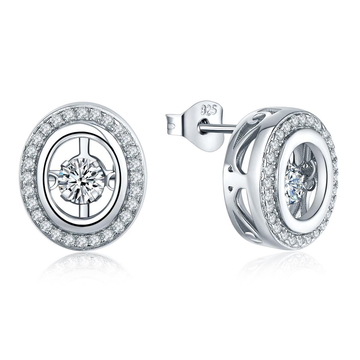 Dancing Style Diamond Cz Women Jewelry 925 Sterling Silver Stud Earrings  High Quality Hot Selling Silver Jewelry With 3a For Gift De16410g Dancing  Diamond