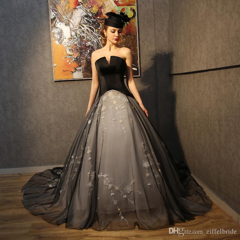 2017 vintage gothic wedding dresses new style sexy black for Vintage gothic wedding dresses