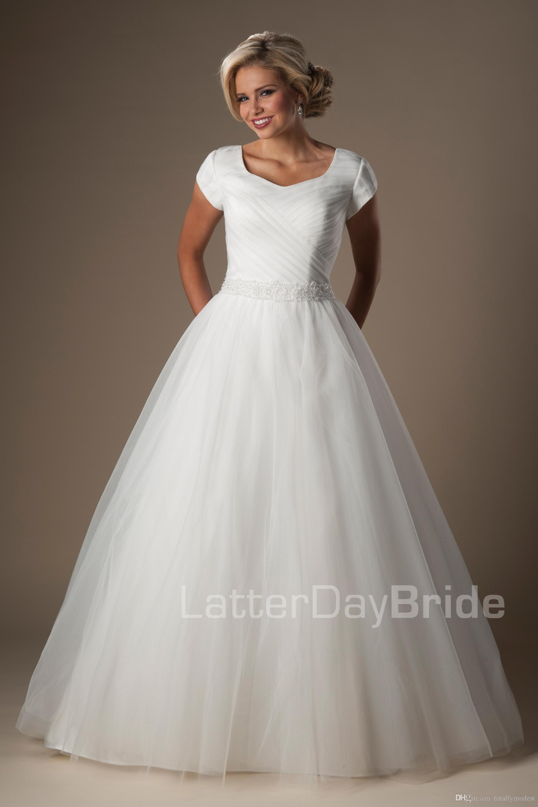 Simple ball gown modest wedding dresses with short sleeves for Short modest wedding dresses