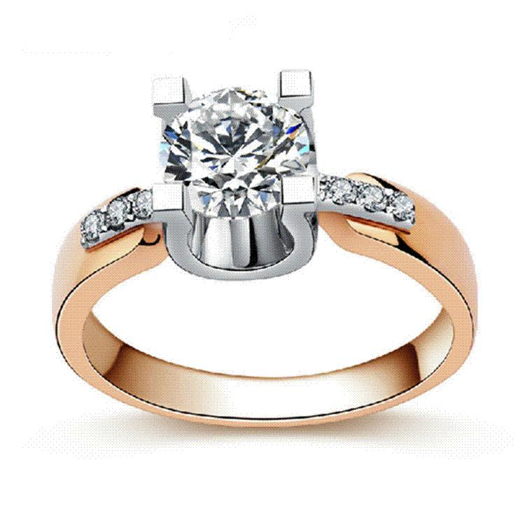 8k Rose Gold Filled Wedding Rings For Women Engagement Jewelry