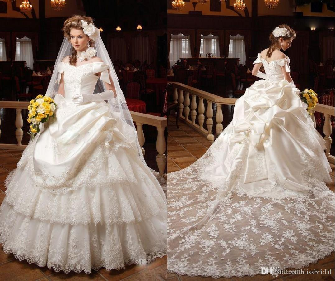 Luxury Ruffles Layered Lace Ball Gown Wedding Dresses f