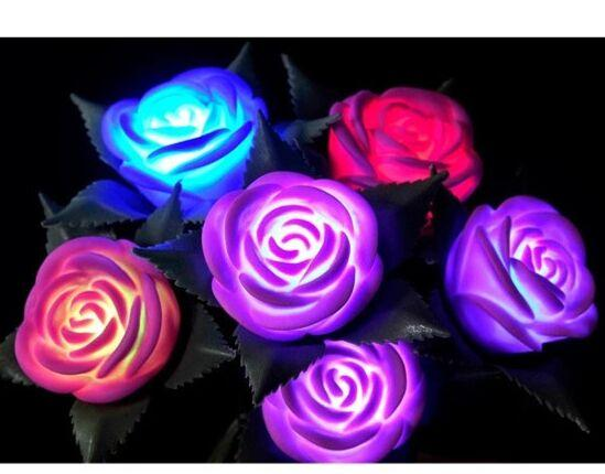 Mix colors romantic color changing rose flower rgb led for Color changing roses
