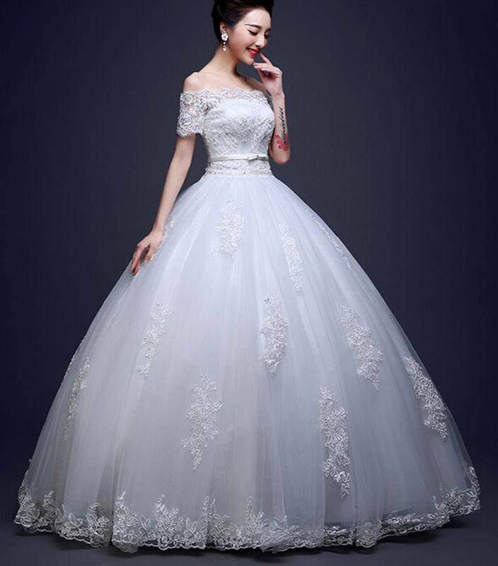 Shoppingabc Off Shoulder Lace Bridal Ball Gown Wedding Dresses ...