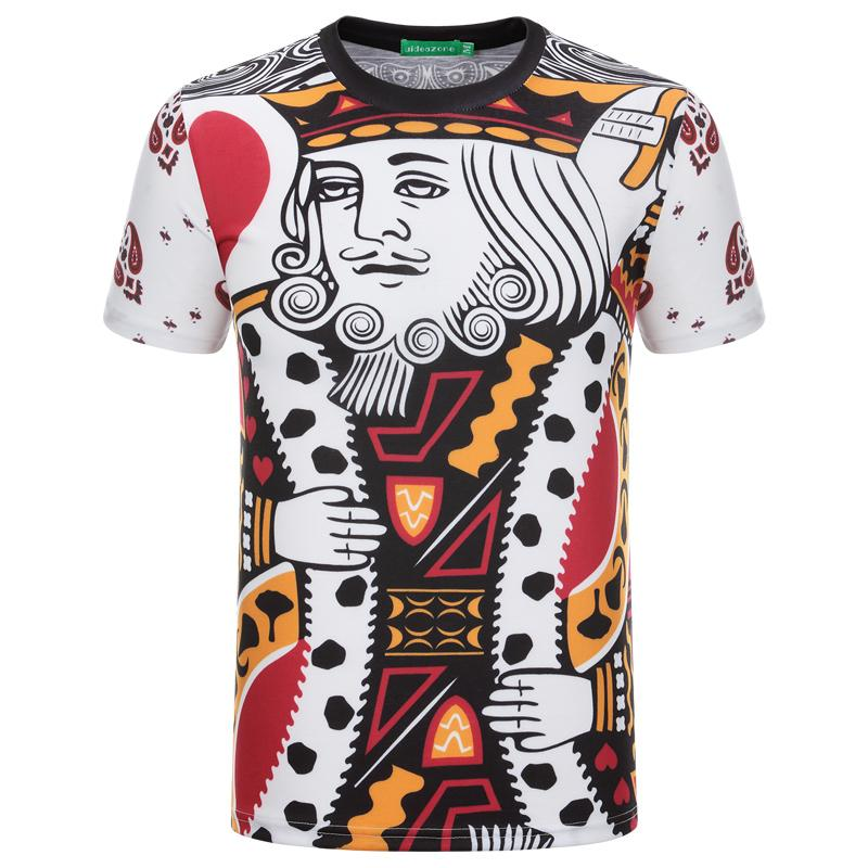 2016 Summer Fashion 3D Pattern Hommes T-shirt Graphic Poker Impression Short Sle