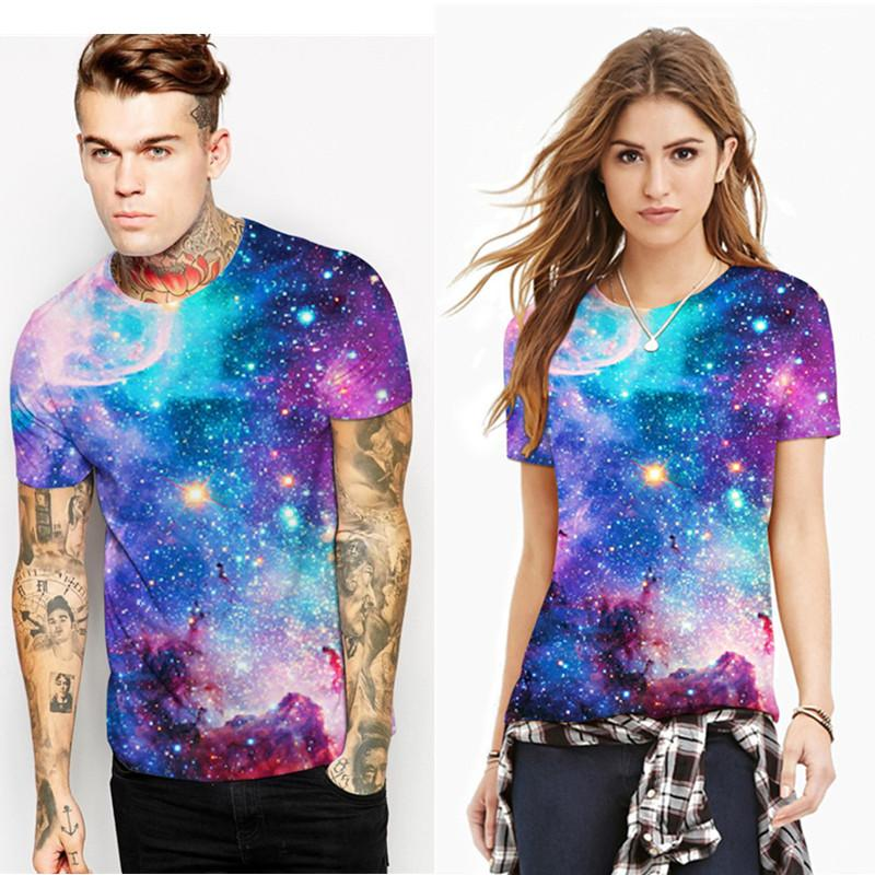Brand New Lovers Fashion T-Shirts O-Neck Pull manches courtes 3D Univers de l'im