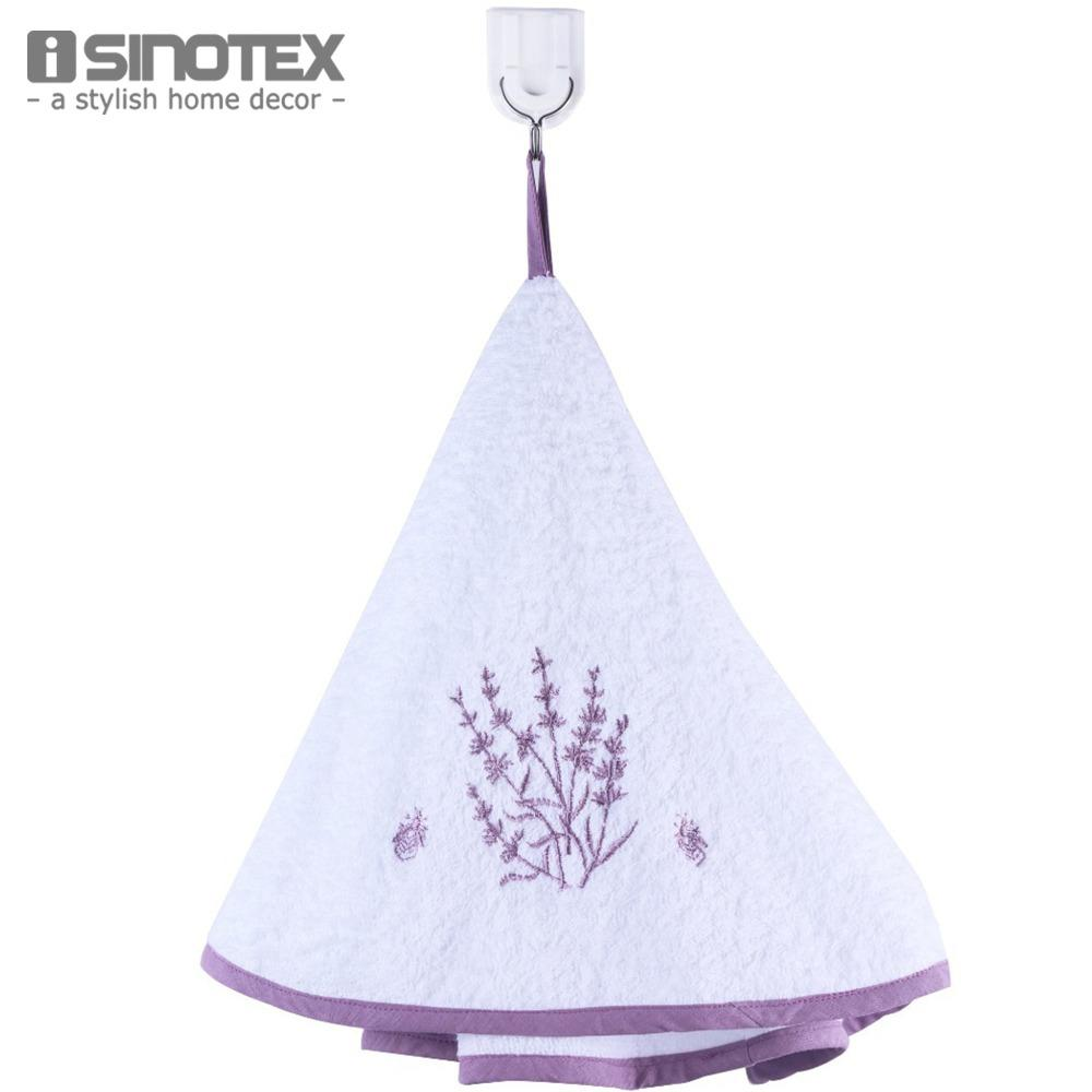 Kitchen Towel Hanging Lavender Washcloth Cotton Kitchen Towel 70cm Round Embroidery Hand