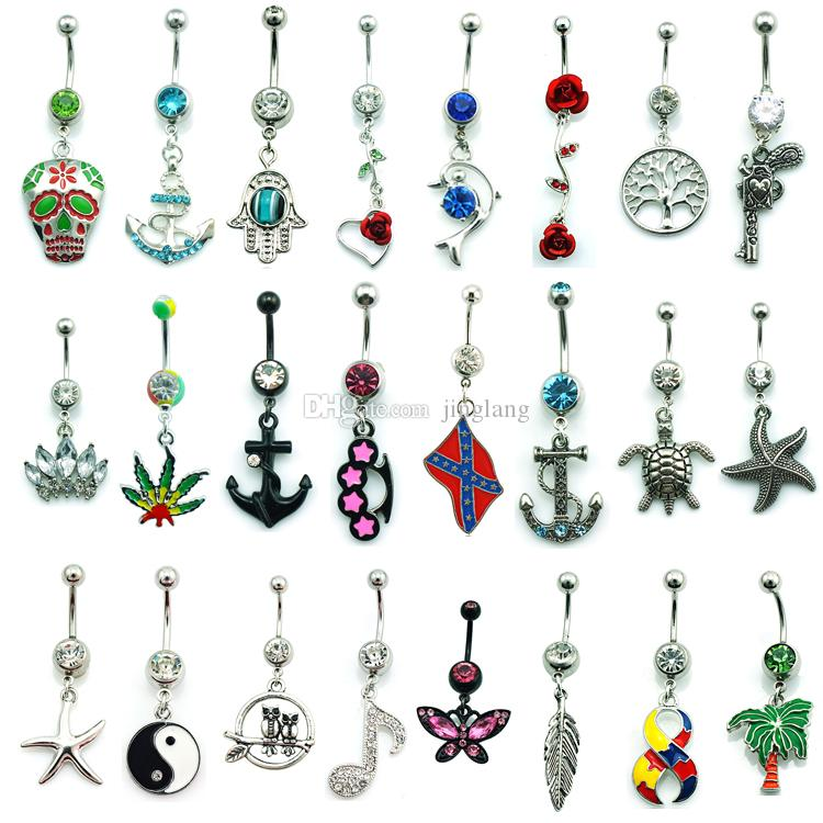 Vente en gros Mix Sale Bagues à ventre Dangle Mix Design 316L Anneaux de nombril