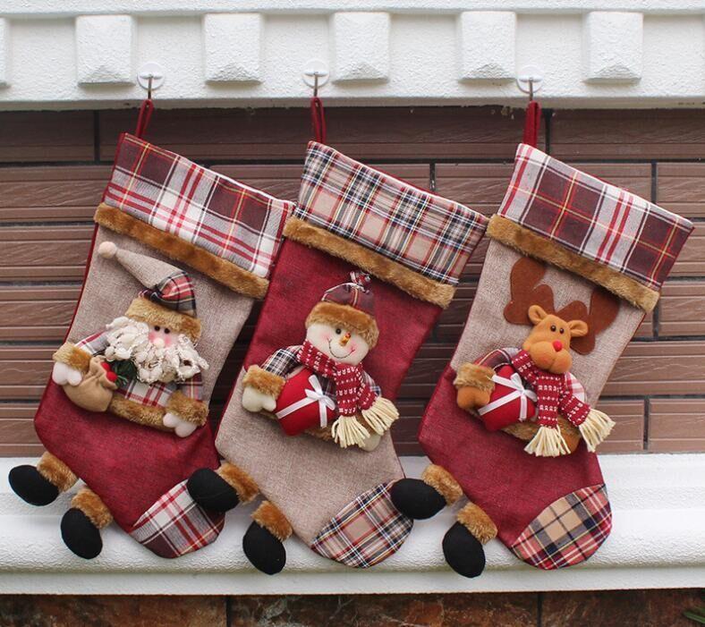 2016 Christmas Stockings Cartoon Christmas Decorations Santa Claus ...