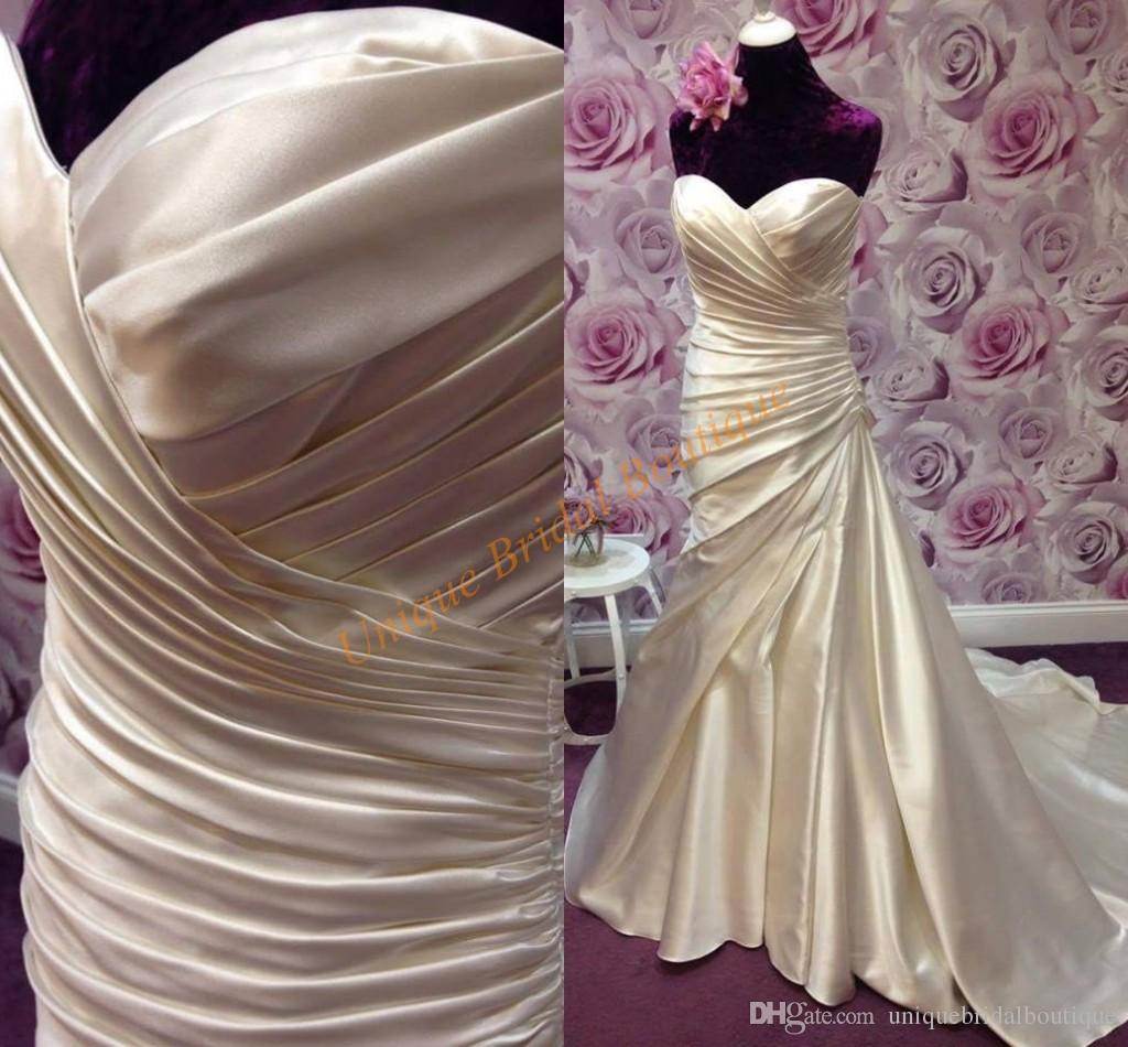 designer wedding dresses 2017 with draped waist and sweetheart neck pleated satin champagne bridal gowns mermaid