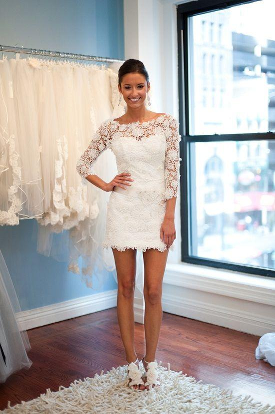 Sexy Mini Lace Beach Wedding Dresses Short with 3/4 Sleeves Summer ...