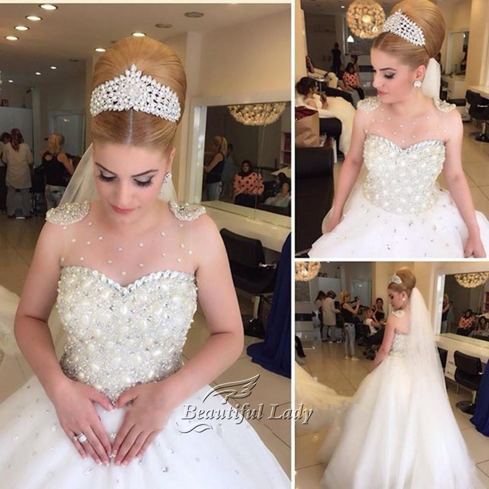 Luxury Arabic Wedding Dress 2017 Beaded Rhinestones Illusion Tulle Princess Dresses Custom Made Sexy Bridal Gowns Vestido De Noiva