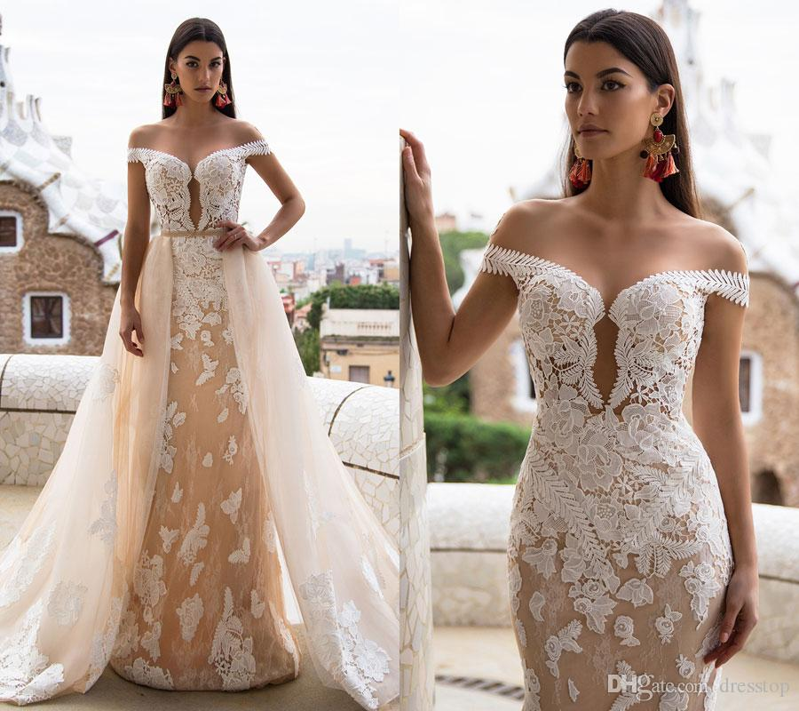 2017 lace mermaid wedding dresses with detachable train for Www dhgate com wedding dresses