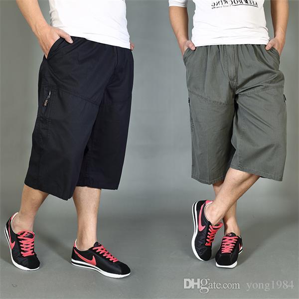 2017 Fashion Mens Cotton Casual Shorts Plus Size Fat Multi ...