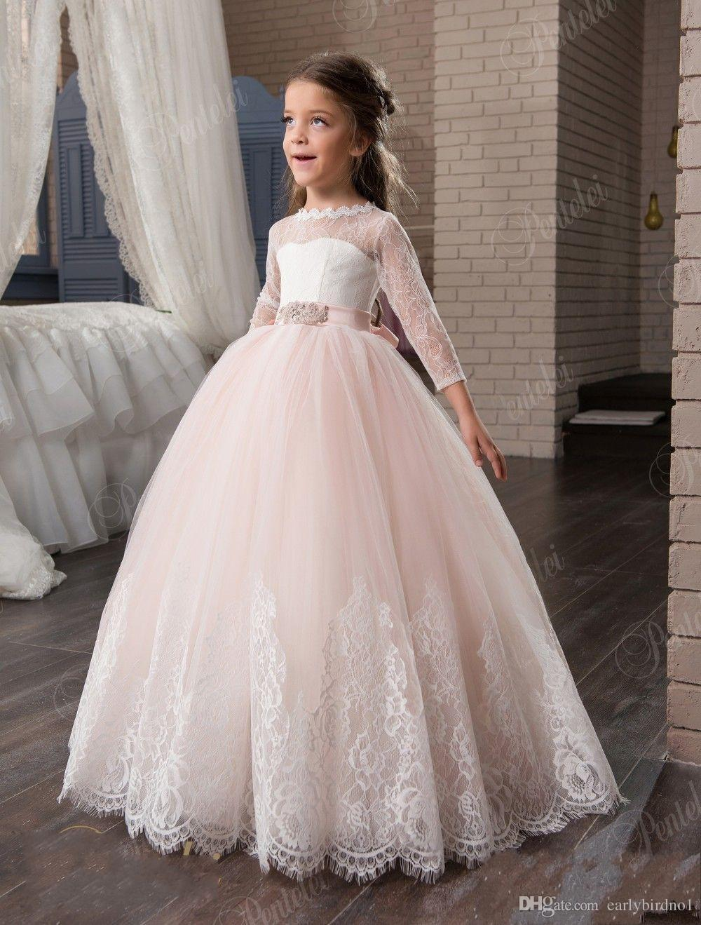Cute pink flower girl dresses 34 long sleeves lace appliques cute pink flower girl dresses 34 long sleeves lace appliques princess ball gown pageant girl dresses birthday party gown 2017 new two pieces prom gowns dhlflorist Gallery
