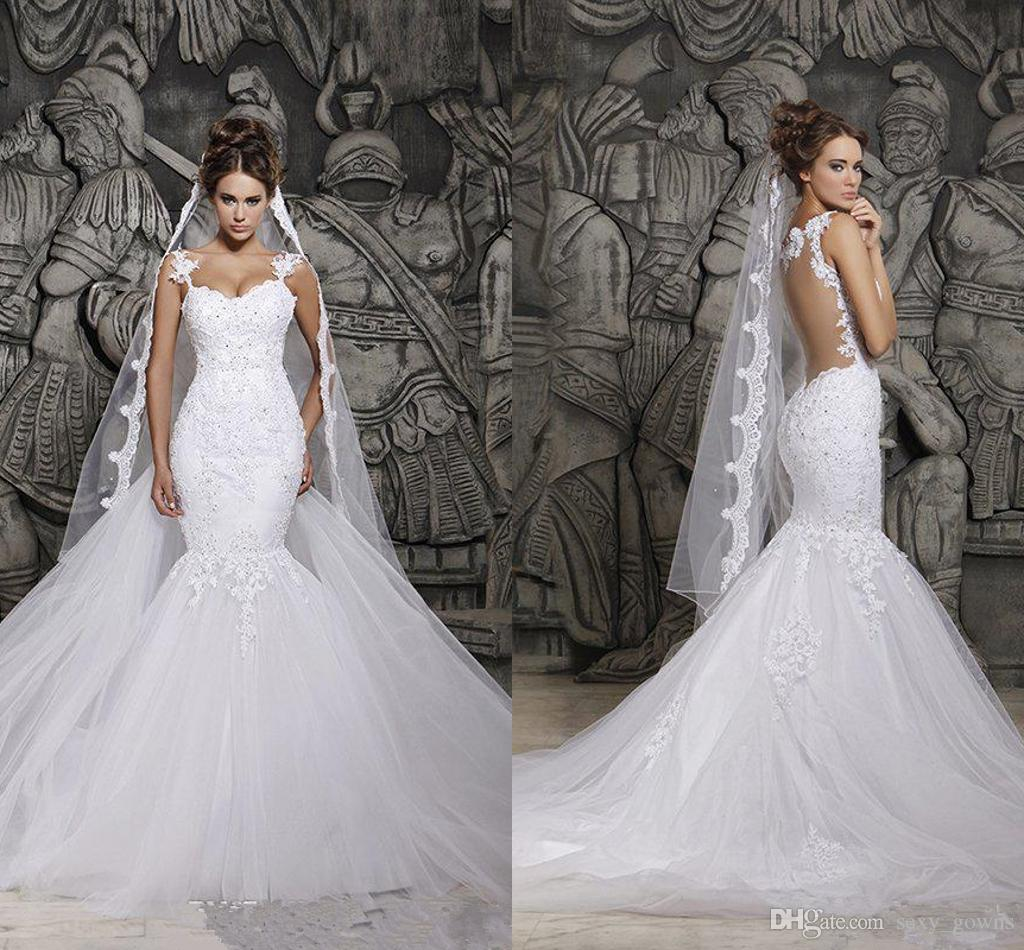Cheap berta sexy sheer back mermaid wedding dresses for Cheap wedding dresses in dubai