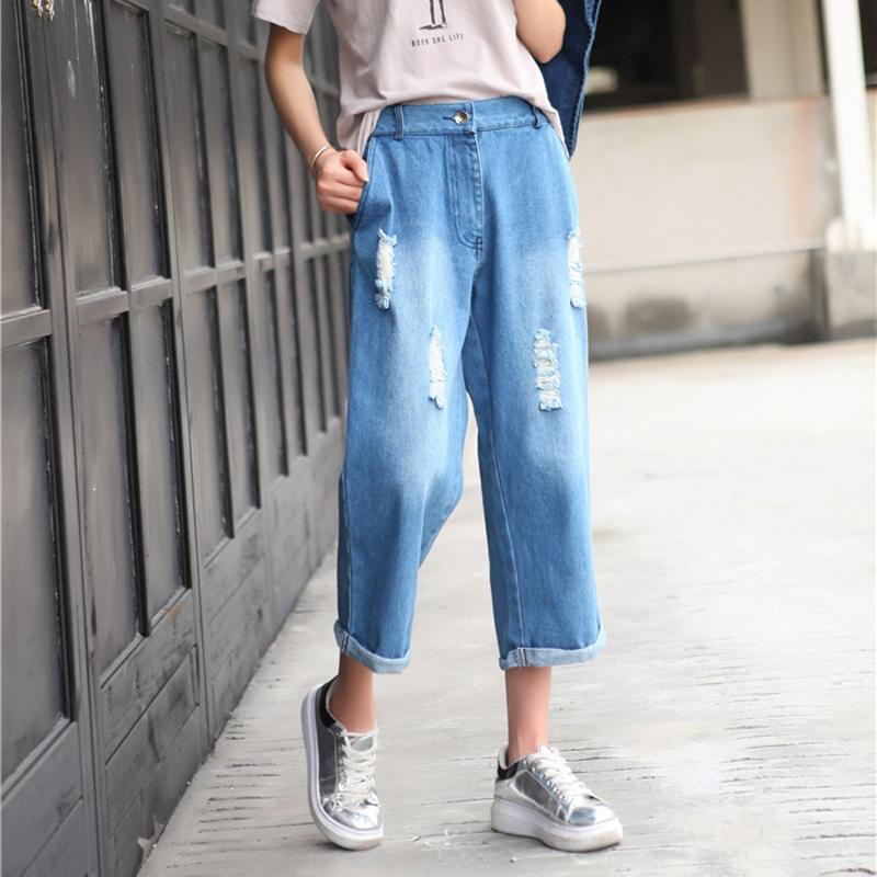 2017 High Waist Jeans Women Denim Wide Leg Pants Vintage Ripped ...