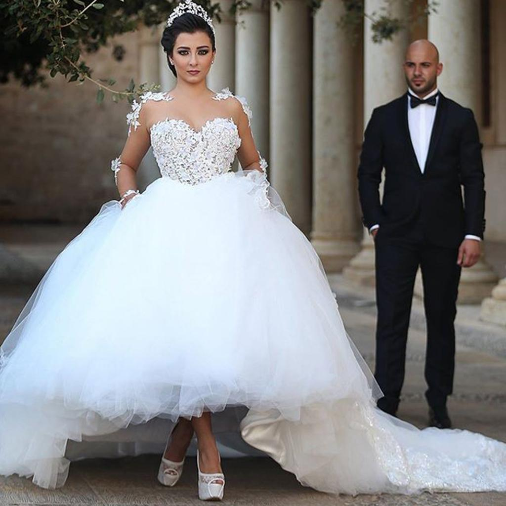 Long Sleeves Ball Gown Wedding Dresses 2017 Illusion Neck