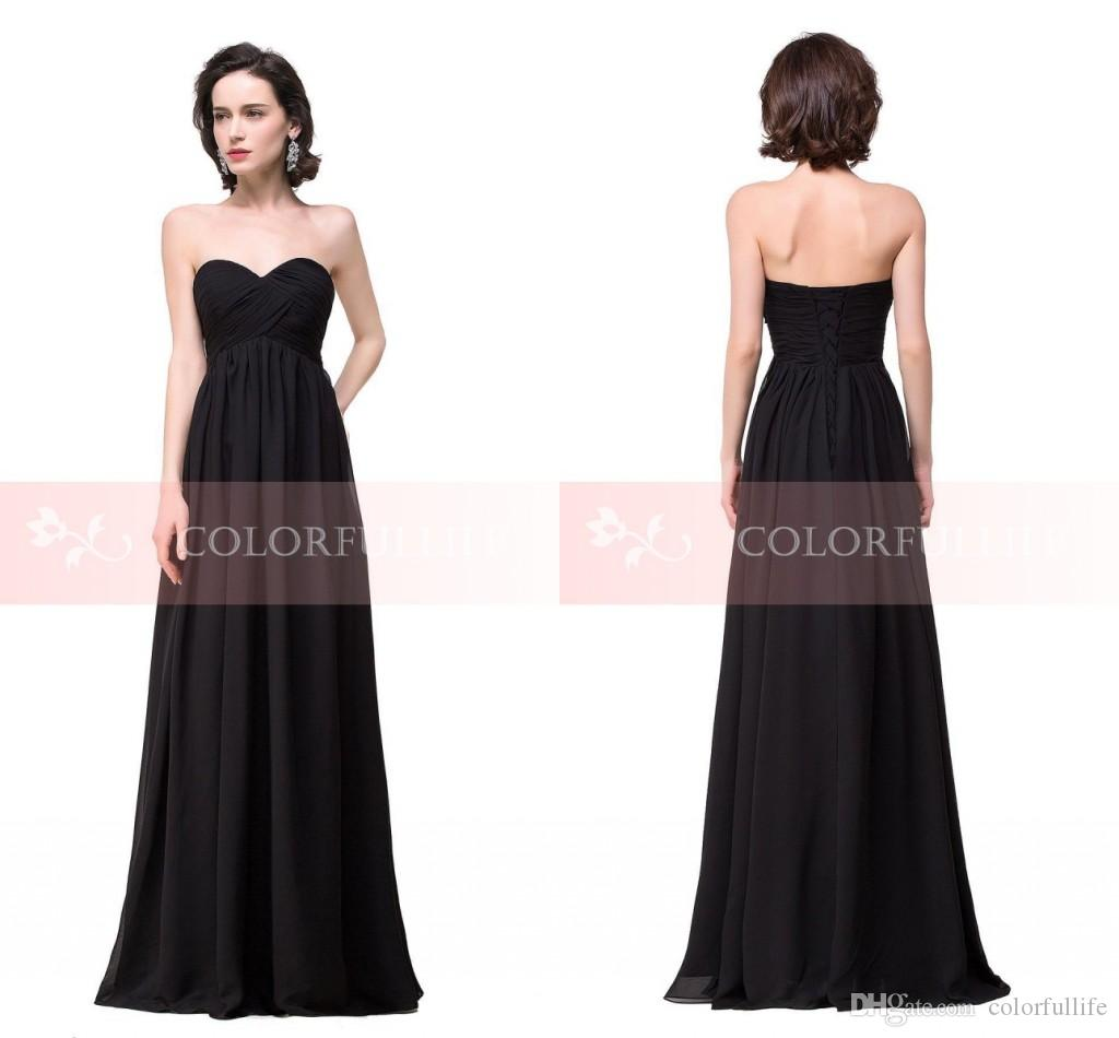 Hot Cheap Black Chiffon Bridesmaid Dresses 2016 y