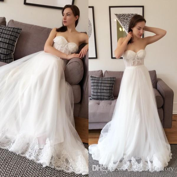 Modern Country Chic Wedding Dress : New soft tulle wedding dress country style illusion bodice boned