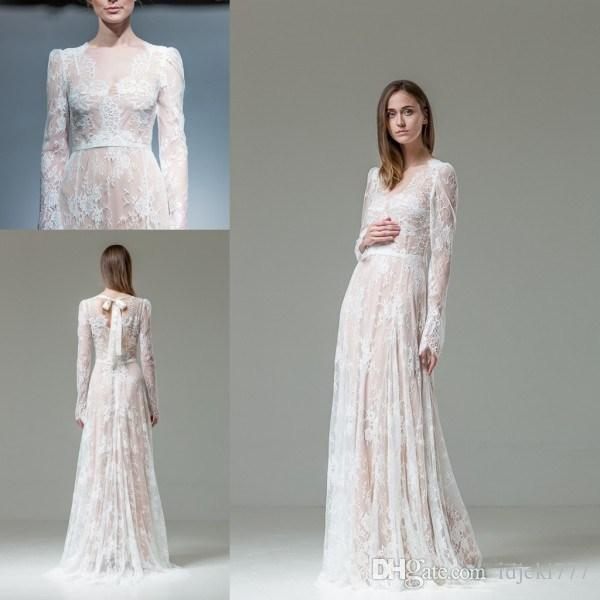 Discount Lace Wedding Dresses Scoop Long Sleeve Modest Wedding Dresses With S