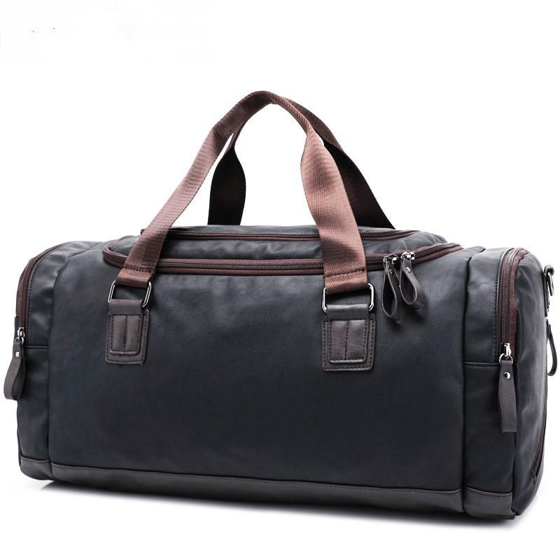 Pu Men'S Leather Travel Duffel Bag , Male Handbags ,Tote Weekend ...