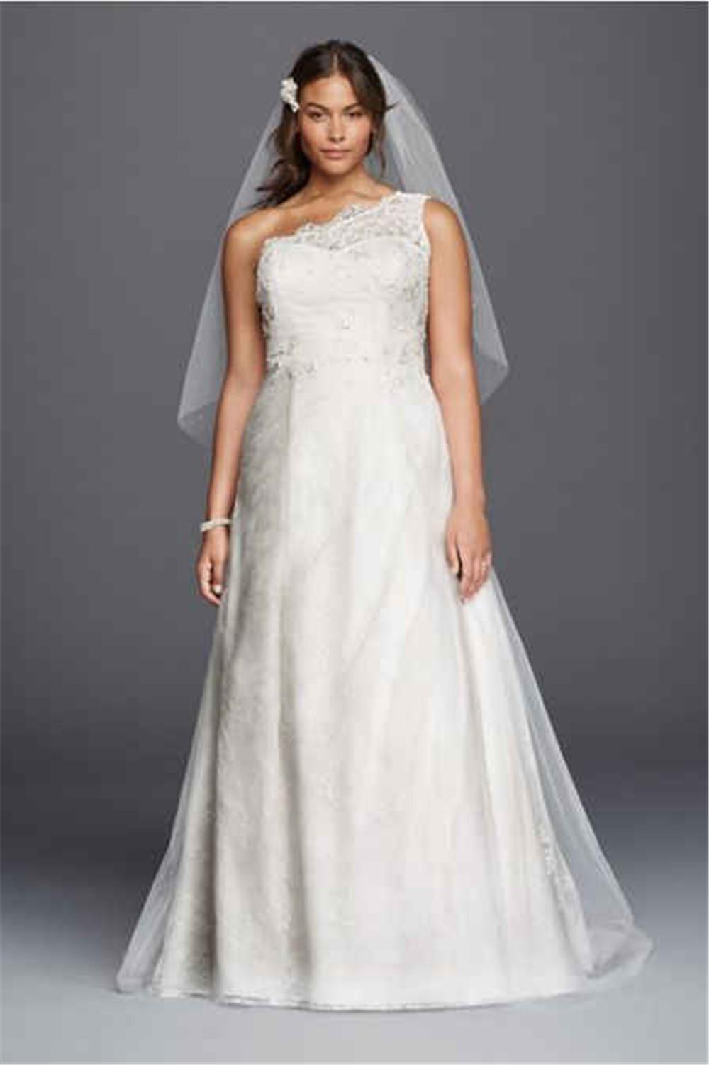 Plus Size Bridal Gowns Nyc : Discount one shoulder tulle a line plus size wedding dress