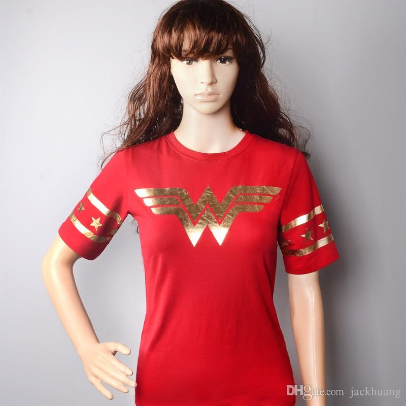Wonder Woman Diana Prince Cosplay Rouge T-shirts manches courtes pour femmes