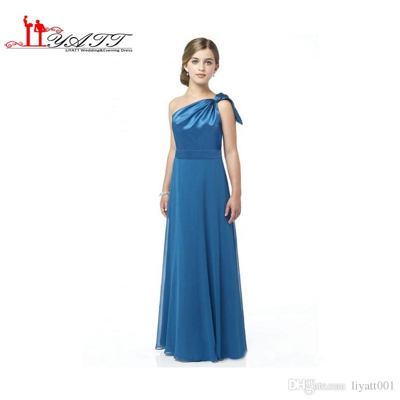 One shoulder junior bridesmaid dresses a line floor length for Junior wedding guest dresses for summer