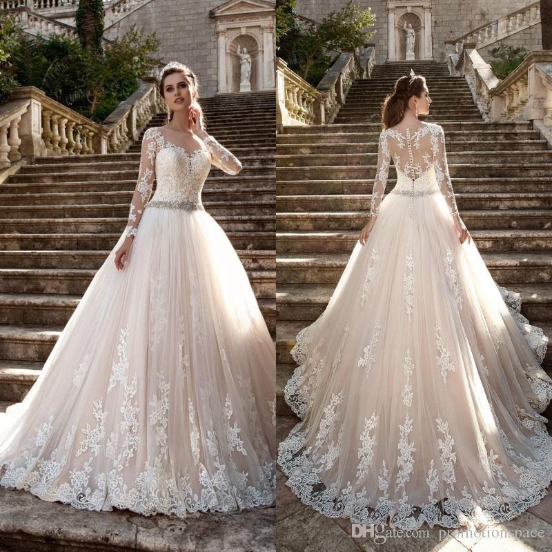 Vestido De Noiva Vintage Long Sleeves Wedding Dresses 2017 Sheer Tulle Back Lace Appliques Gowns Bead Belt Bride