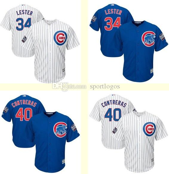 Hommes Chicago Cubs 34 Jon Lester 40 Willson Contreras Blanc Bleu 2016 World Ser