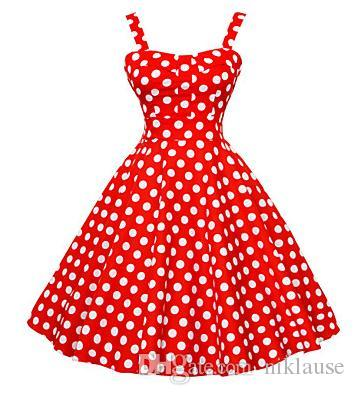 2016 Femmes 50s Vintage Polka Dots Rockabilly Hepburn Pinup robe Business Swing