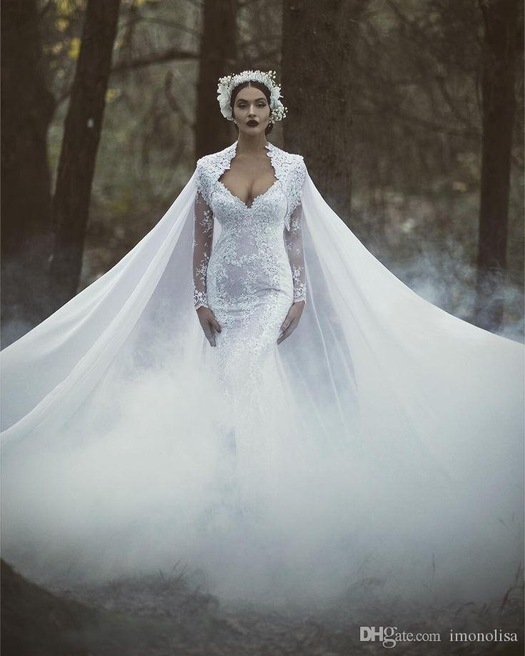 Gorgeous white lace mermaid wedding dress with cape floor for Wedding dress with a cape