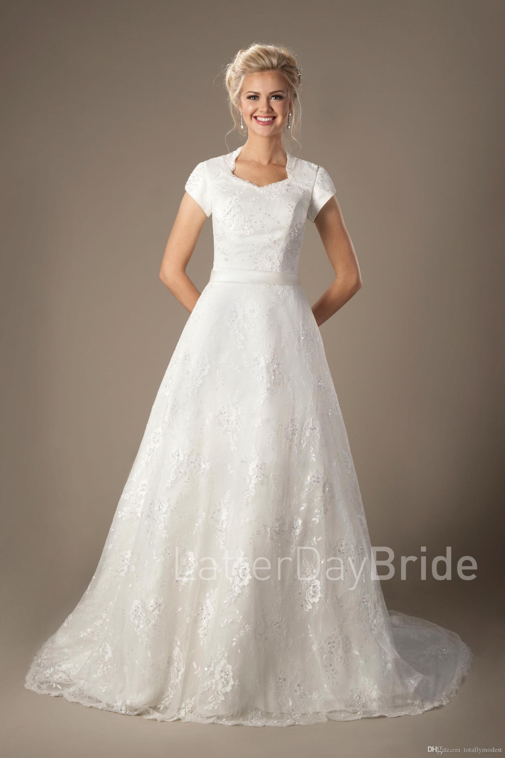 Vestido De Noiva Vintage Beaded Lace Modest Wedding