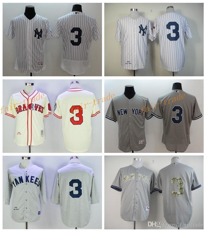 New York Yankees 3 Babe Ruth Jersey Cooperstown 1929 Retro Babe Ruth Maillots de baseball Blanc Gris à rayures avec 75e Hall of Fame Patch
