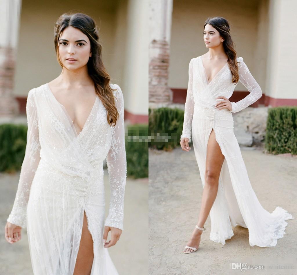 y Long Sleeve Summer Wedding Dresses Sheath Deep V Neck