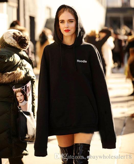 2017 Vetements Oversized Hoodie Designer Women Black Hoodies ...