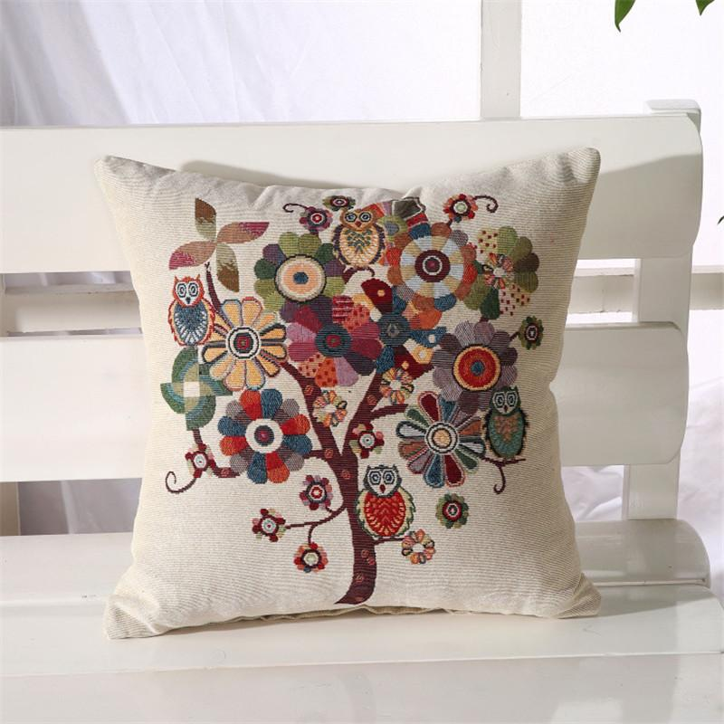 Pillow Case Design Online: 18X 18 Creative Design Colorful Owels And Tree Cotton Linen Throw    ,
