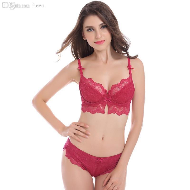 2017 Wholesale Girl Lace Bra Set Thin Unlined Sexy Bra And Panty ...