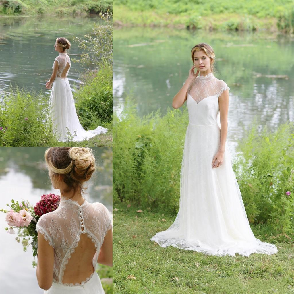 Hot Sale 2016 Dress Wedding Style Lace Vintage A Line High