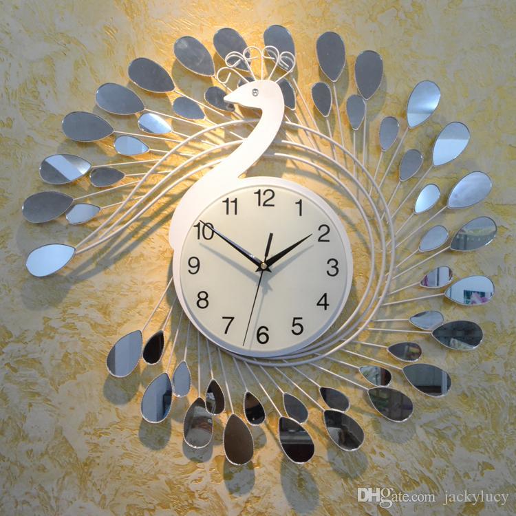 Fashion Peacock Design Silent Wall Clock Creative Craft Clocks For High Grade Living Room Bedroom Decor