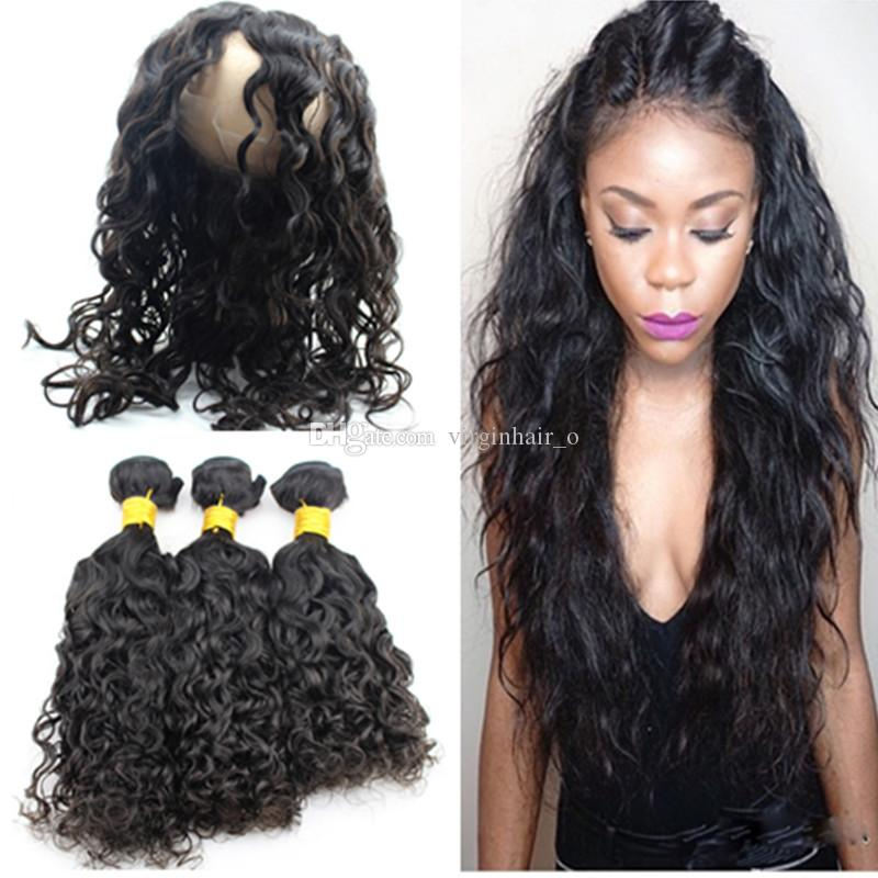 9a Water Wave 360 Pre Plucked Lace Frontal With Bundles