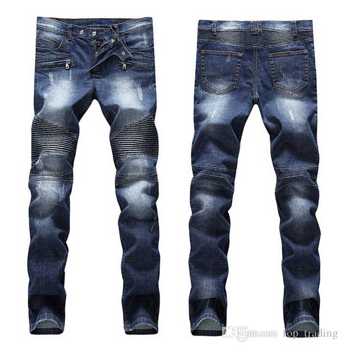 Men's Distressed Ripped Skinny Jeans Fashion Designer Slim Motorcycle Moto Biker Causal Mens Denim Pants Hip Hop Men Jeans