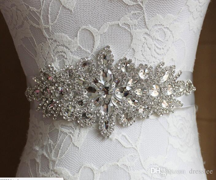 2017 Cheap Hand Make Bridal Sashes Belts 2016 Free Size Crystal Shinny Elegant Women Belts Ivory