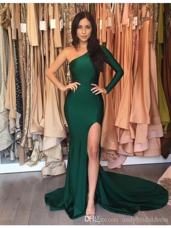 Hunt Green One Sleeve Mermaid Fast Shipping Prom Dresses Sweep ...