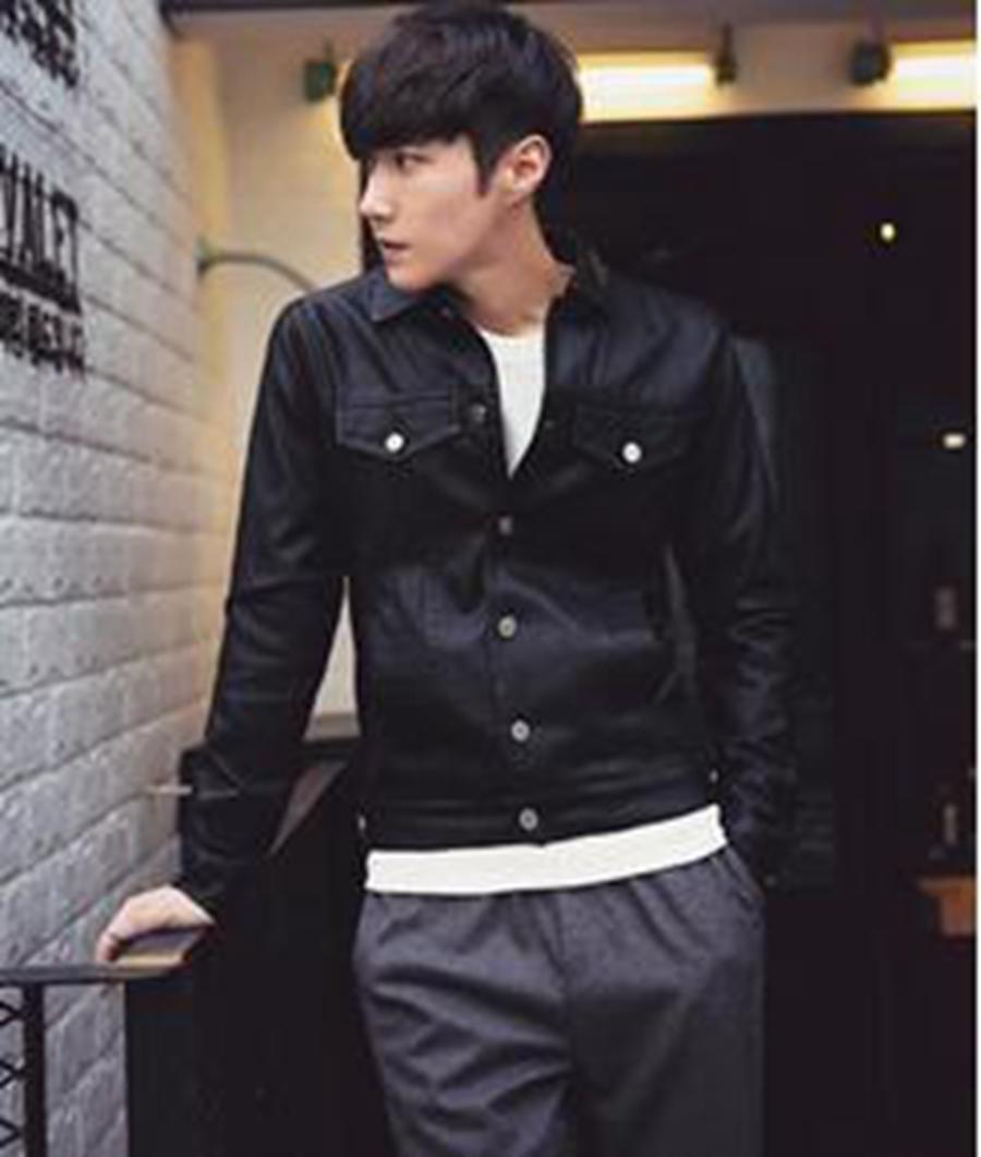 Leather jacket europe - Europe Spring Men Casual Fashion New Korean Version Of Low Slim Design Short Leather Jacket