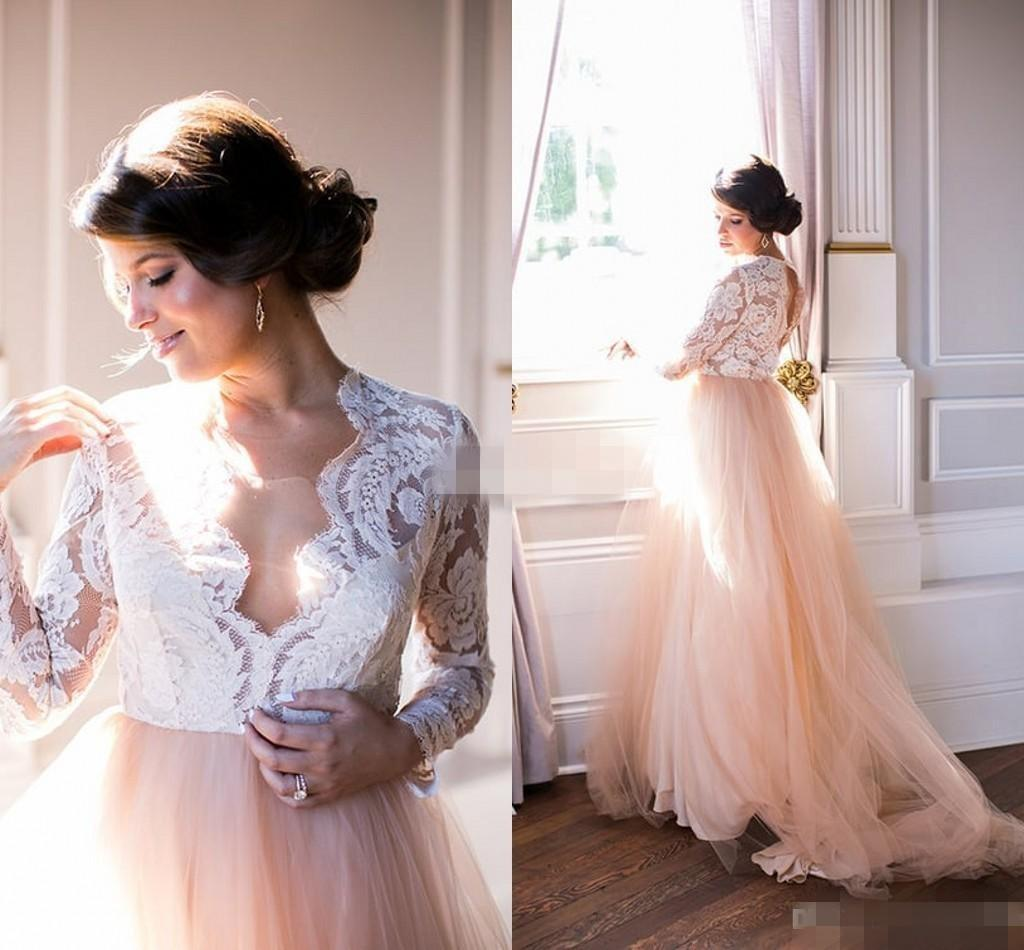 Discount Summer 2016 Long Sleeves Wedding Dresses Lace Top