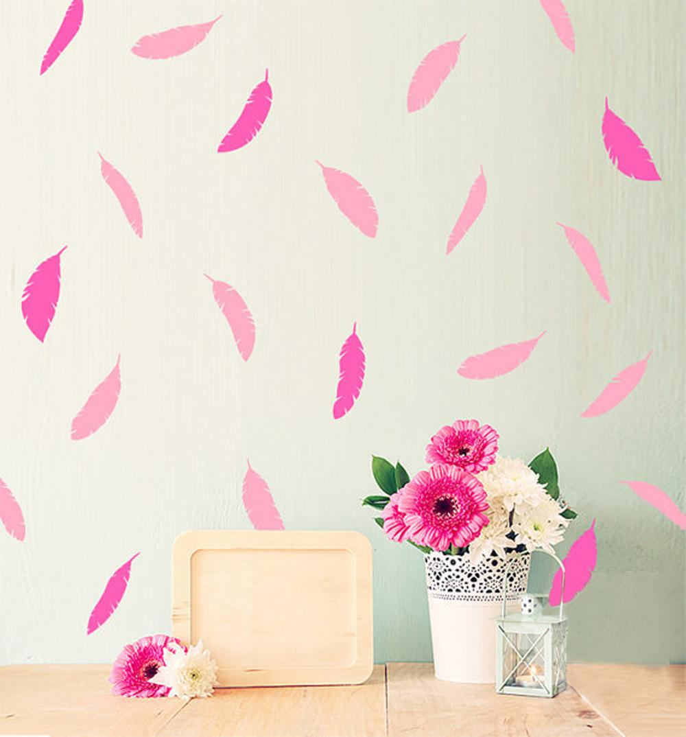 Gold Pink Feather Removable Wall