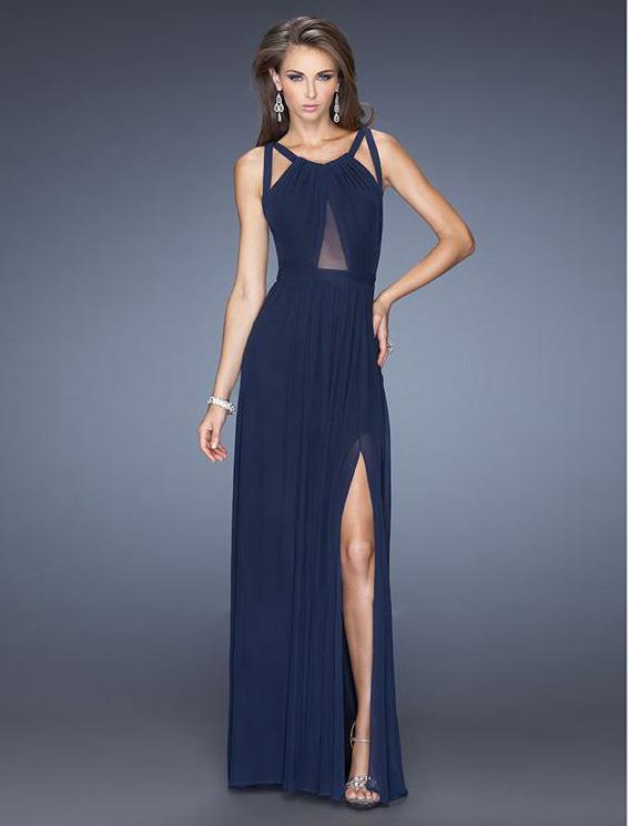 Oyr70337 Women Dark Blue Long Dress Party Ladies Dinner Dress ...